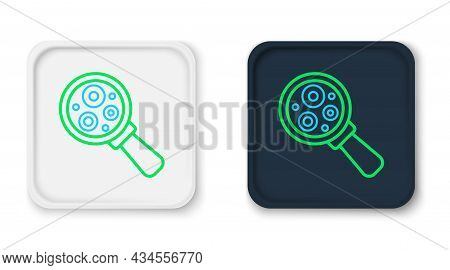 Line Microorganisms Under Magnifier Icon Isolated On White Background. Bacteria And Germs, Cell Canc