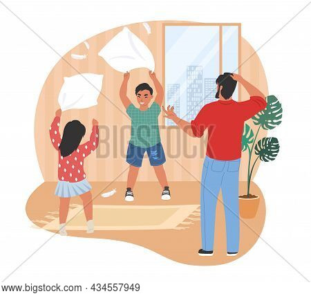 Stressed Dad Looking At His Naughty Kids Playing With Pillows, Flat Vector Illustration. Parental St