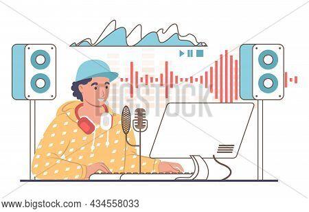 Sound Designer, Engineer Creating Sound Tracks In Studio, Vector Illustration. Professional Music Pr
