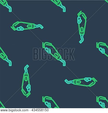 Line Electrical Hair Clipper Or Shaver Icon Isolated Seamless Pattern On Blue Background. Barbershop