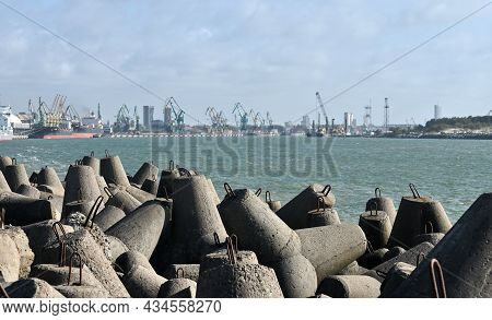 Seascape With Concrete Tetrapodes To Protect Coastal Structures From Destructive Impact Of Storm Sea