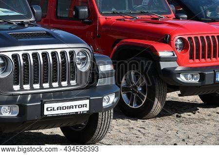 Klaipeda, Lithuania - September 25: New Car Jeep Gladiator Display At A Chrysler Dealership At Septe