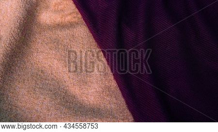 Background In Pastel Shades Of Coffee Shade With Purple Silk Fabric. Textile, Copy Space From Silk F