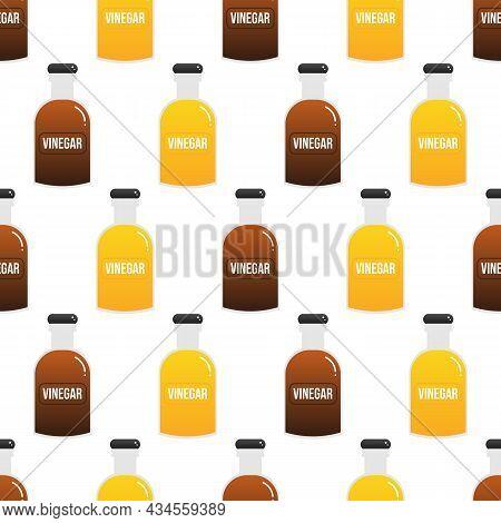 Bottles Of Apple Cider Vinegar And Balsamic Vinegar Cartoon Style Vector Seamless Pattern Background