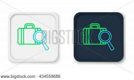Line Airline Service Of Finding Lost Baggage Icon Isolated On White Background. Search Luggage. Colo