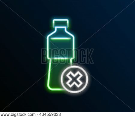 Glowing Neon Line No Water Bottle Icon Isolated On Black Background. No Plastic Bottle. Water Bottle