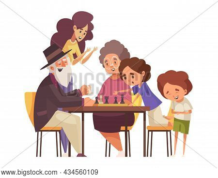 Happy Children And Grandparents Playing Chess Cartoon Vector Illustration