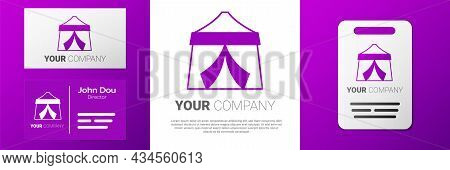 Logotype Circus Tent Icon Isolated On White Background. Carnival Camping Tent. Amusement Park. Logo