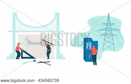 Project Team Engineering Bridge Creating Draft And Checking Electric Circuit In Transformer Vault Ve