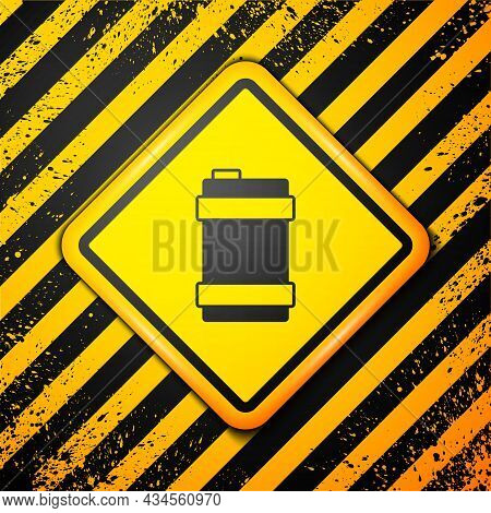 Black Metal Beer Keg Icon Isolated On Yellow Background. Warning Sign. Vector