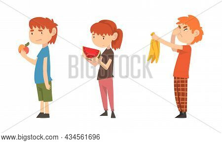Little Boy And Girl Showing Dislike And Disgust Towards Fruit Vector Set