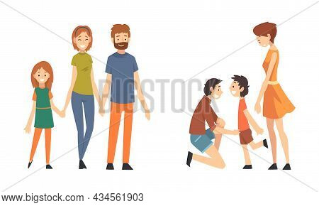 Family With Mother, Father And Kids Spending Time Walking Together Vector Set