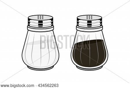 Salt And Pepper Shakers, Spice Pot Vector Illustrations