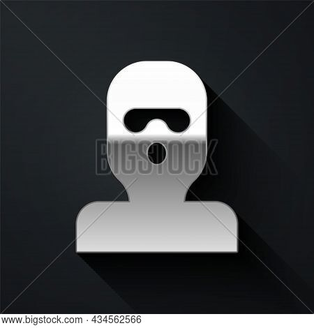 Silver Thief Mask Icon Isolated On Black Background. Bandit Mask, Criminal Man. Long Shadow Style. V