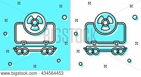 Black Line Radioactive Cargo Train Wagon Icon Isolated On Green And White Background. Freight Car. R