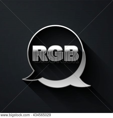 Silver Speech Bubble With Rgb And Cmyk Color Mixing Icon Isolated On Black Background. Long Shadow S