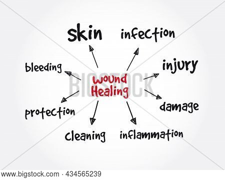 Wound Healing Mind Map, Health Concept For Presentations And Reports