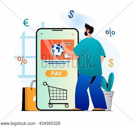 Mobile Commerce Concept In Modern Flat Design. Man Buys Products In Online Store And Pays For Purcha