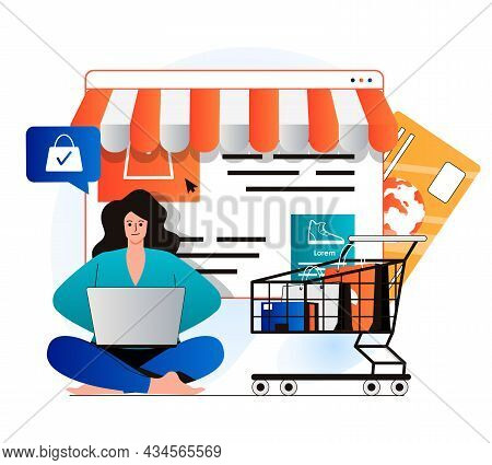 Mobile Commerce Concept In Modern Flat Design. Woman Makes Profitable Purchases On Store Website, Pa