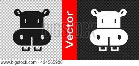 Black Hippo Or Hippopotamus Icon Isolated On Transparent Background. Animal Symbol. Vector