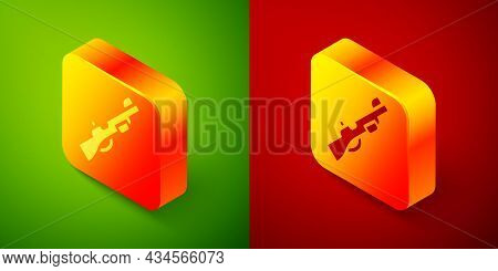 Isometric Hunting Gun Icon Isolated On Green And Red Background. Hunting Shotgun. Square Button. Vec