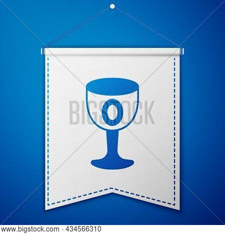 Blue Medieval Goblet Icon Isolated On Blue Background. Holy Grail. White Pennant Template. Vector