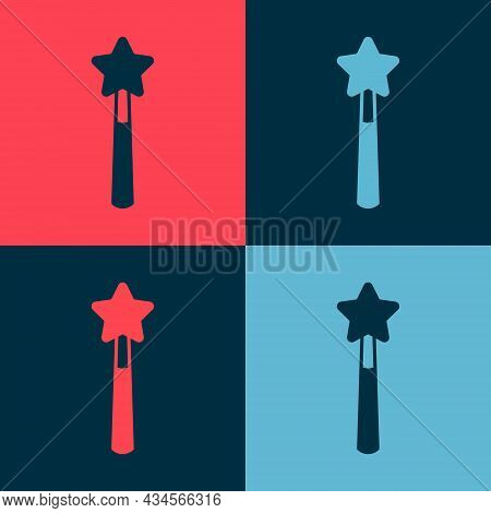 Pop Art Magic Wand Icon Isolated On Color Background. Star Shape Magic Accessory. Magical Power. Hap