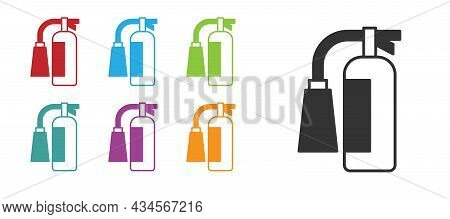 Black Fire Extinguisher Icon Isolated On White Background. Set Icons Colorful. Vector
