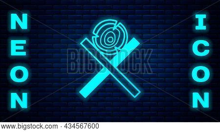 Glowing Neon Wooden Logs On A Stand Icon Isolated On Brick Wall Background. Stack Of Firewood. Vecto