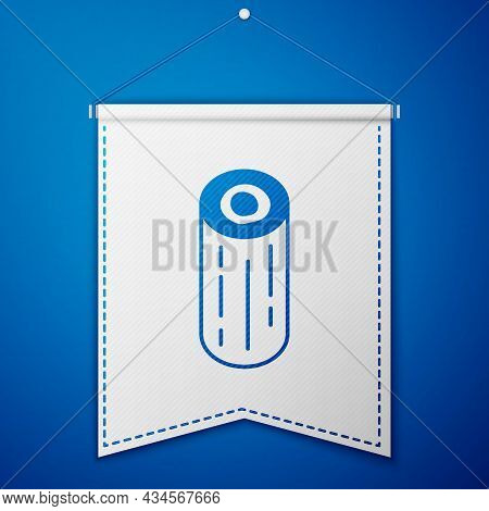 Blue Wooden Logs Icon Isolated On Blue Background. Stack Of Firewood. White Pennant Template. Vector