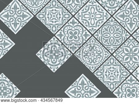 Portuguese Azulejo Ceramic Tile Background. Mediterranean Traditional Ornament. Italian Pottery Or S