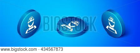 Isometric Miner In A Helmet Icon Isolated On Blue Background. Blue Circle Button. Vector