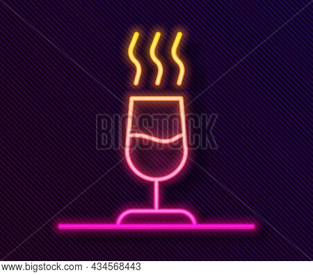 Glowing Neon Line Wine Tasting, Degustation Icon Isolated On Black Background. Sommelier. Smells Of