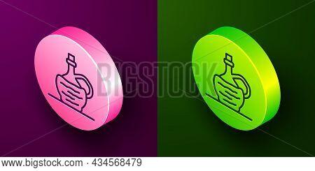 Isometric Line Wine In Italian Fiasco Bottle Icon Isolated On Purple And Green Background. Wine Bott