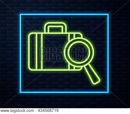 Glowing Neon Line Airline Service Of Finding Lost Baggage Icon Isolated On Brick Wall Background. Se