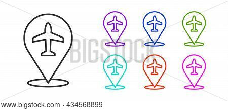Black Line Plane Icon Isolated On White Background. Flying Airplane Icon. Airliner Sign. Set Icons C