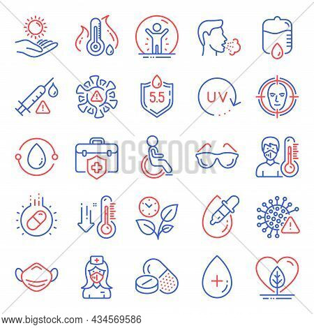 Healthcare Icons Set. Included Icon As Low Thermometer, Coronavirus, Ph Neutral Signs. Drop Counter,