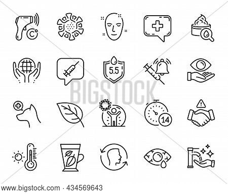 Vector Set Of Veterinary Clinic, Vaccine Announcement And Mint Leaves Line Icons Set. Organic Tested