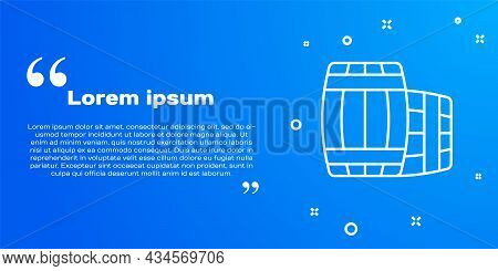 White Line Wooden Barrel Icon Isolated On Blue Background. Alcohol Barrel, Drink Container, Wooden K