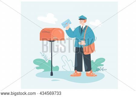 Postman Cartoon Character With Envelope Standing Next To Mailbox. Mailman In Uniform Holding Letter
