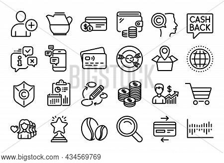 Vector Set Of Communication, Search And Business Growth Line Icons Set. Calendar Report, Money Walle