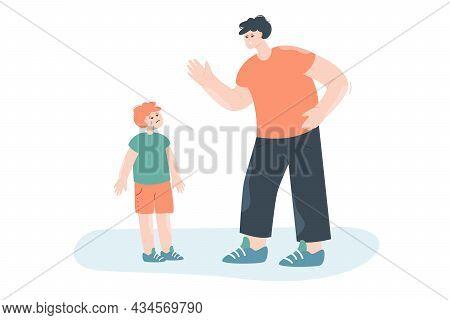 Angry Dad Punishing Crying Child. Flat Vector Illustration. Cartoon Father Warning, Screaming At Sad