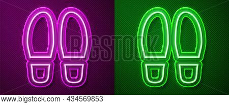 Glowing Neon Line Footsteps Icon Isolated On Purple And Green Background. Detective Is Investigating