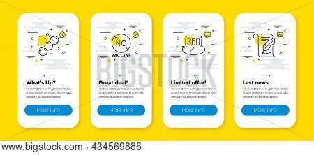 Vector Set Of No Vaccine, 360 Degree And Chemical Formula Line Icons Set. Ui Phone App Screens With