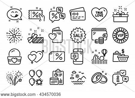 Vector Set Of Balloon Dart, Wedding Rings And Fireworks Explosion Line Icons Set. Calendar Report, M