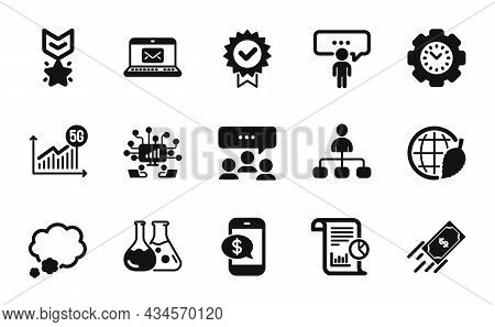 Vector Set Of Certificate, Report And Phone Payment Icons Simple Set. E-mail, Meeting And 5g Statist