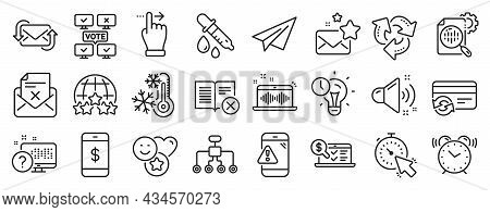 Set Of Technology Icons, Such As Chemistry Pipette, Favorite Mail, Warning Message Icons. Music Maki
