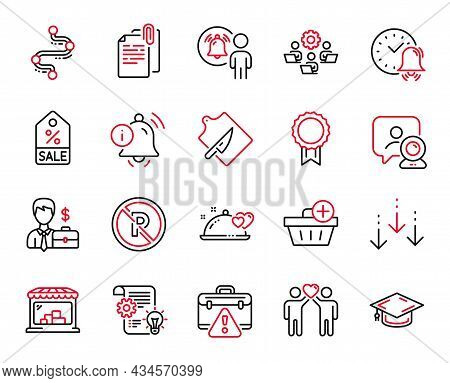 Vector Set Of Business Icons Related To Teamwork, Scroll Down And Warning Briefcase Icons. Video Con