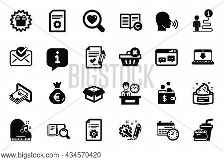 Vector Set Of Simple Icons Related To File Settings, Search Book And Approved Agreement Icons. Delet