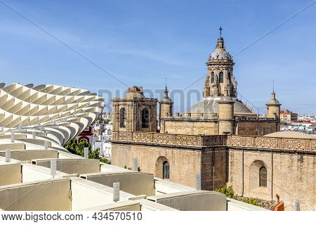 View Of Old Annunciation Church Taken From Setas De Sevilla Landmark In Seville, Andalusia, Spain